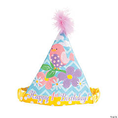1st Birthday Flowers and Birds Cone Party Hat