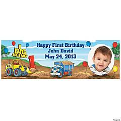 1st Birthday I Dig Being 1 Custom Photo Banner