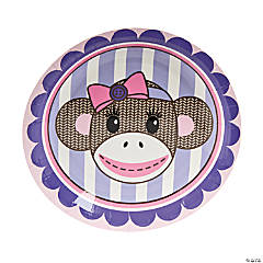 1st Birthday Miss Sock Monkey Paper Dessert Plates - 8 Ct.