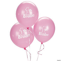 "1st Birthday Pink 11"" Latex Balloons"