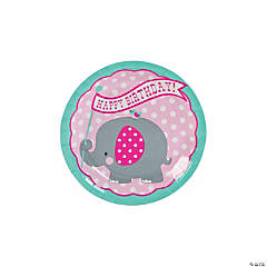 1st Birthday Pink Elephant Paper Dessert Plates - 8 Ct.