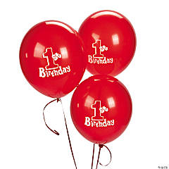 1st Birthday Red Latex Balloons