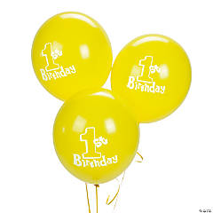 1st Birthday Yellow Latex Balloons