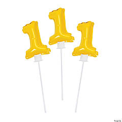 1st Birthday Yellow Self Inflate Mylar Balloons