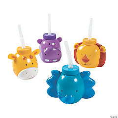1st Birthday Zoo Party Molded Plastic Cups with Straws