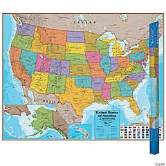 (2 Ea) Hemispheres Laminated Map