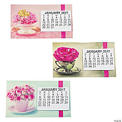 2017 Large Print Flowers & Cups Calendar Magnets