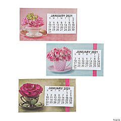 2021 Large Print Flower Calendar Magnets