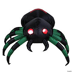 3.5' Green and Black Inflatable Lighted Spider Outdoor Halloween Decoration