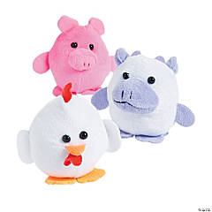 "3.5"" Plush Round Fuzzy Farm Animals"