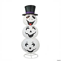3.6' Pre-Lit Happy Ghost with Hat Halloween Outdoor Yard Art Decor