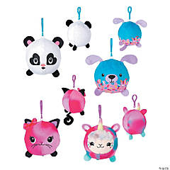 """3"""" Bright Color Plush Squishy Backpack Clips"""