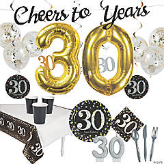 30th Birthday Party Tableware Kit for 8 Guests