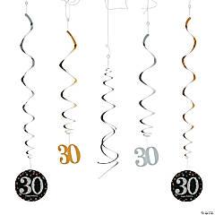 30th Sparkling Celebration Birthday Hanging Swirl Decorations