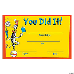 36 Dr. Seuss™ You Did It! Certificates