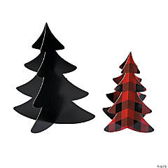 3D Buffalo Plaid Tree Centerpieces