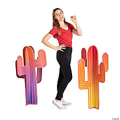 3D Colorful Cactus Stand-Ups