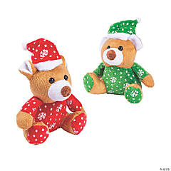 "4"" Christmas Stuffed Bears with Santa Hats"