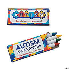 4-Color Autism Awareness Crayons - 24 Boxes