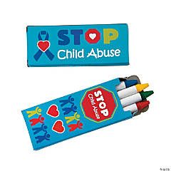 4-Color Child Abuse Awareness Crayons - 24 Boxes