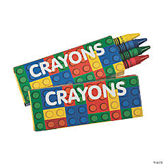 4-Color Color Brick Party Crayons - 24 Boxes
