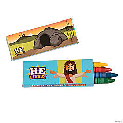 4-Color He Lives Easter Crayons - 24 Boxes