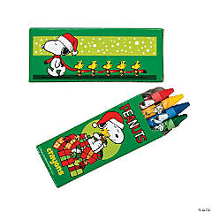 4-Color Peanuts® Christmas Crayons - 24 Boxes