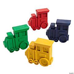 4-Color Railroad VBS Train-Shaped Crayons - 24 Pcs.
