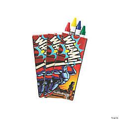 4-Color Superhero Crayons - 24 Boxes