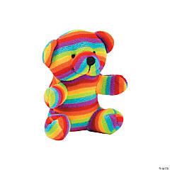 "4"" Rainbow Striped Stuffed Bears"