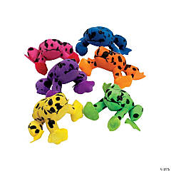 "4"" Spotted Neon Stuffed Frogs"