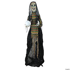 5.5' Pre-Lit Black and Green Standing Fortune Witch with Magic Ball Halloween Display