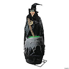 5.5' Pre-Lit Black Witch and Cauldron Animated Halloween Decor with Sound