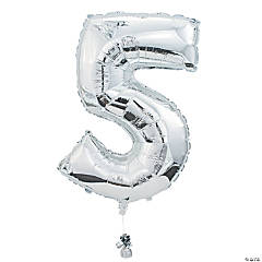 """5"" Shaped Mylar Number Balloon"