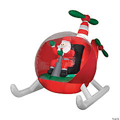 "55"" Blow Up Inflatable Santa in Helicopter"
