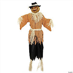 6' Black and Brown Animated Jack o Lantern Scarecrow Halloween Decor