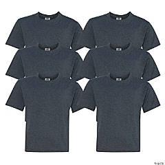 6 Black Youth T-Shirts - Large