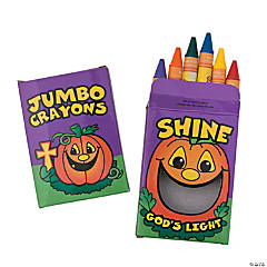 6-Color Christian Pumpkin Jumbo Crayons - 12 Boxes