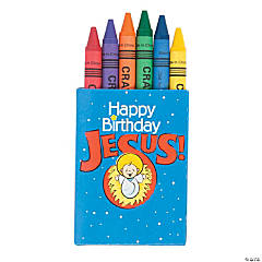 6-Color Happy Birthday Jesus Crayons - 48 Boxes