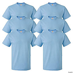 6 Light Blue Adult's T-Shirts - Extra Large