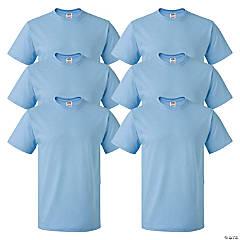 6 Light Blue Adult's T-Shirts - Small
