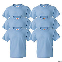 6 Light Blue Youth T-Shirts - Extra Large