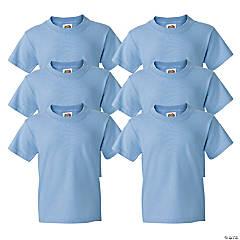 6 Light Blue Youth T-Shirts - Medium