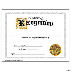(6 Pk) Certificate Of Recognition