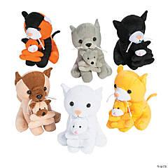 "6"" Stuffed Cats Holding Kittens"