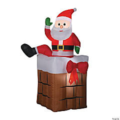 "60"" Blow Up Inflatable Climbing Santa in Chimney"