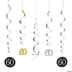 60th Sparkling Celebration Birthday Hanging Swirl Decorations