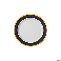 """7.5"""" Premium Black & White Plastic Dessert Plates with Gold Trim - 25 Ct."""