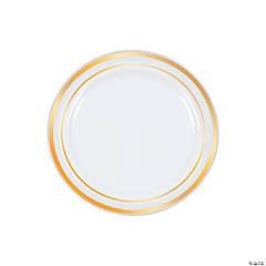"""7.5"""" Premium White Plastic Dessert Plates with Gold Trim - 25 Ct."""