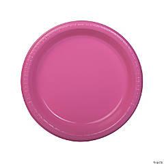"7"" Bulk Candy Pink Plastic Dessert Plates - 50 Ct."